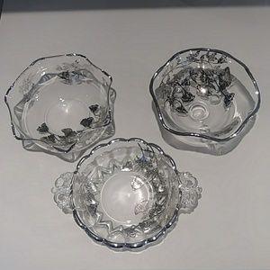 Viking silver overlay Flowerlite flower bowls